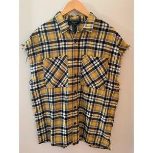 Forever 21 Plaid Sleeveless Button Down Shirt